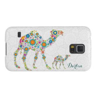 Camelo floral retro colorido & damascos brancos capa para galaxy s5