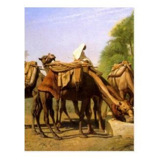 Camelos na fonte por Jean-Leon Gerome Cartão Postal