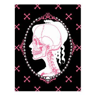 Cameo cor-de-rosa bonito do crânio cartão postal
