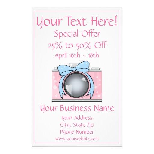 Câmera cor-de-rosa bonito com arco azul panfletos personalizado