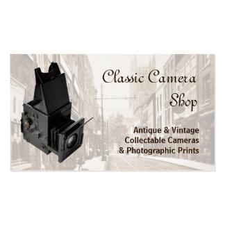 Câmera de reflexo da única lente do vintage cartão de visita