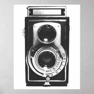 Câmera do b&w do vintage pôster