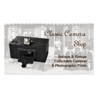 Câmera e foto panorâmicos antigas cartão de visita