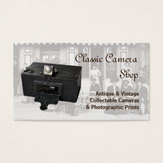 Câmera e foto panorâmicos antigas cartão de visitas