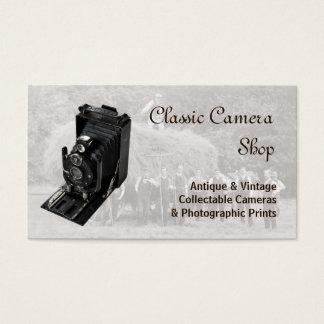 Câmera e fotografia do vintage cartão de visitas