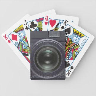 Câmera preta baralho de cartas