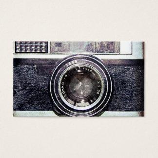 Câmera preta velha cartão de visitas