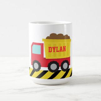 Camião basculante vermelho e amarelo, para miúdos caneca de café