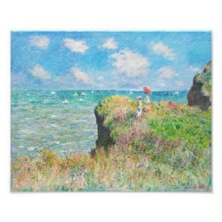 Caminhada do penhasco de Monet em Pourville Impressão De Foto