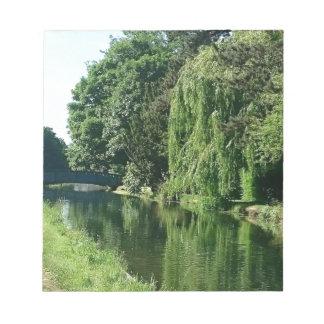 Caminhada ensolarada verde do rio das árvores do bloco de notas