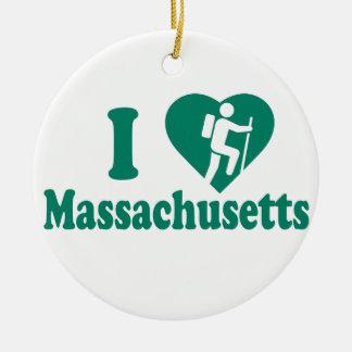 Caminhada Massachusetts Ornamento De Cerâmica Redondo