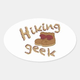 Caminhando o geek adesivo oval
