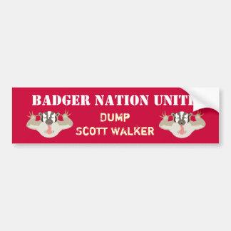 Caminhante de Unite_Dump da nação de Wisconsin Adesivo Para Carro