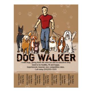 Caminhante do cão. Passeio do cão. CARA. Modelo da Panfleto Personalizados