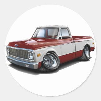Caminhão 1970-72 Marrom-Branco de Chevy C10 Adesivos Redondos