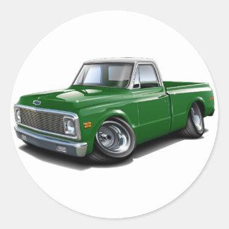 Caminhão 1970-72 superior Verde-Branco de Chevy Adesivo Redondo