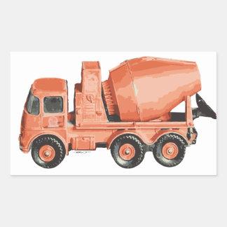 Caminhão alaranjado concreto do brinquedo do adesivos retangular