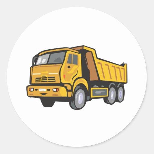 Caminhão amarelo adesivos redondos