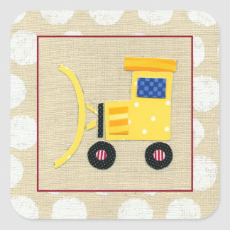 Caminhão amarelo da escavadora do brinquedo por adesivo quadrado