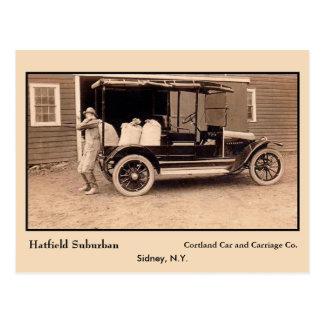 Caminhão americano antigo Hatfield Sydney NY Cartão Postal
