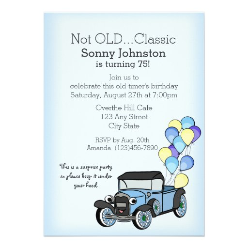Caminhão antigo com aniversário dos balões convite personalizado