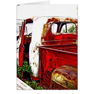 Caminhão antigo com brancos e vermelhos cartão comemorativo