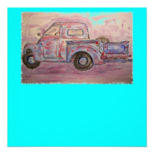 caminhão azul antigo do patina convite personalizados