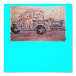 caminhão azul antigo do patina convite quadrado 13.35 x 13.35cm
