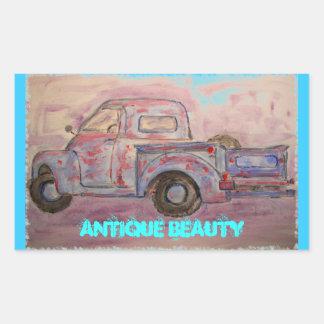 caminhão azul do patina da beleza antiga adesivos retangular