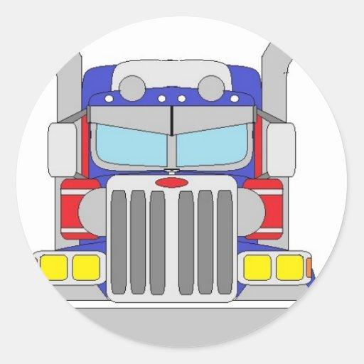 caminhão azul e vermelho adesivos em formato redondos