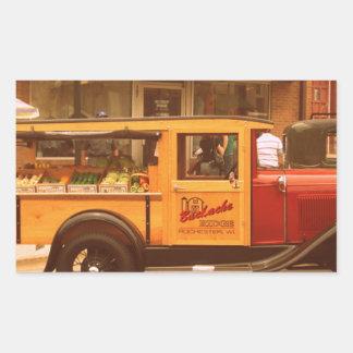 Caminhão clássico da comida adesivos em formato retangulares