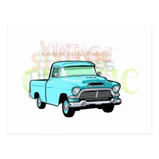 Caminhão clássico no recolhimento azul, muito cartão postal