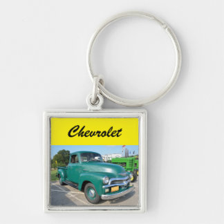 Caminhão de Chevrolet do vintage Chaveiro Quadrado Na Cor Prata