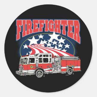 Caminhão de combate ao fogo adesivos em formato redondos
