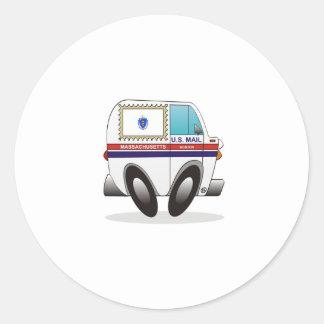 Caminhão de correio MASSACHUSETTS Adesivo Em Formato Redondo