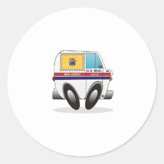 Caminhão de correio NEW-JERSEY Adesivo Em Formato Redondo