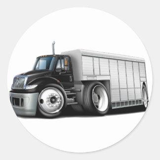 Caminhão de entrega Preto-Branco internacional Adesivos Redondos