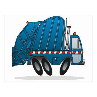 Caminhão de lixo azul cartão postal