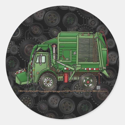 Caminhão de lixo bonito do caminhão de lixo adesivo redondo
