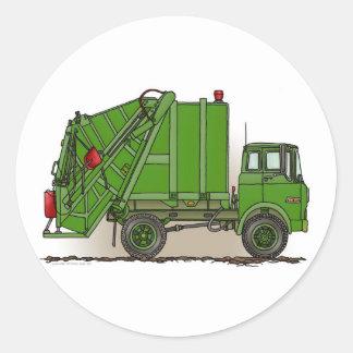 Caminhão de lixo verde adesivo em formato redondo