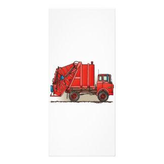 Caminhão de lixo vermelho 10.16 x 22.86cm panfleto