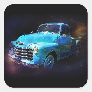 Caminhão de Omega! Caminhão azul do vintage Adesivo Quadrado