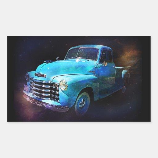 Caminhão de Omega! Caminhão azul do vintage Adesivo Em Formato Retângular