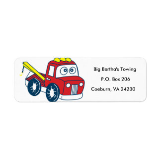 Caminhão de reboque animado etiqueta endereço de retorno