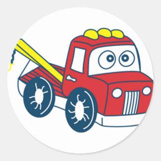 Caminhão de reboque dos desenhos animados de adesivos em formato redondos
