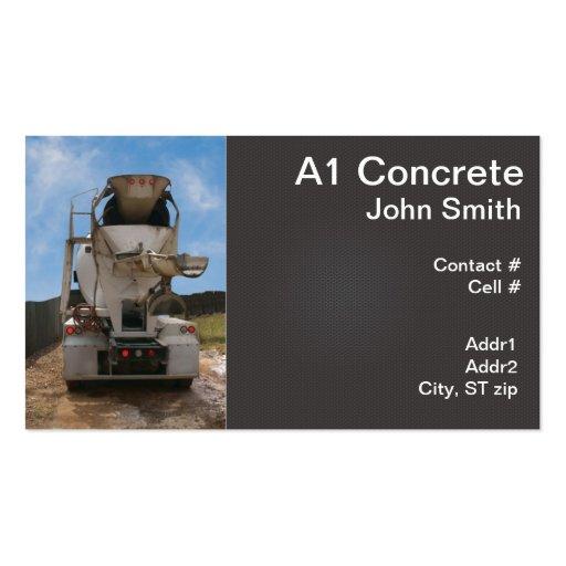 Caminhão do cimento no canteiro de obras cartões de visita