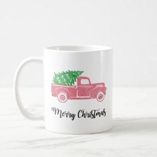 Caminhão do Feliz Natal da aguarela com caneca da