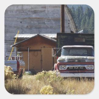 Caminhão do rancho adesivo quadrado
