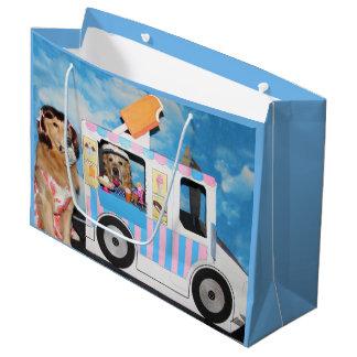 Caminhão do sorvete do golden retriever sacola para presentes grande
