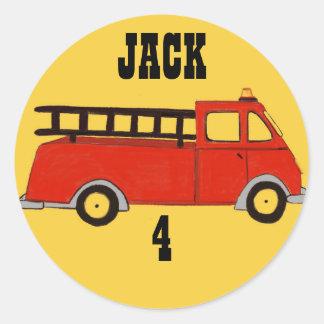 Caminhão do vermelho do quartel dos bombeiros do adesivo redondo